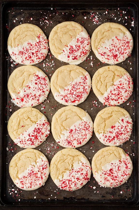 White Chocolate Dipped Peppermint Sugar Cookies | Cooking Classy -