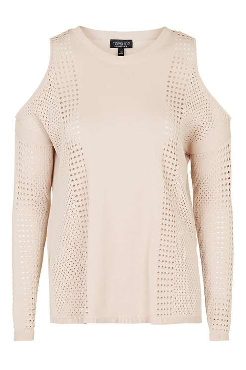 0dd925439ed Pointelle Mesh Cold Shoulder Top - Knitwear - Clothing - Topshop ...
