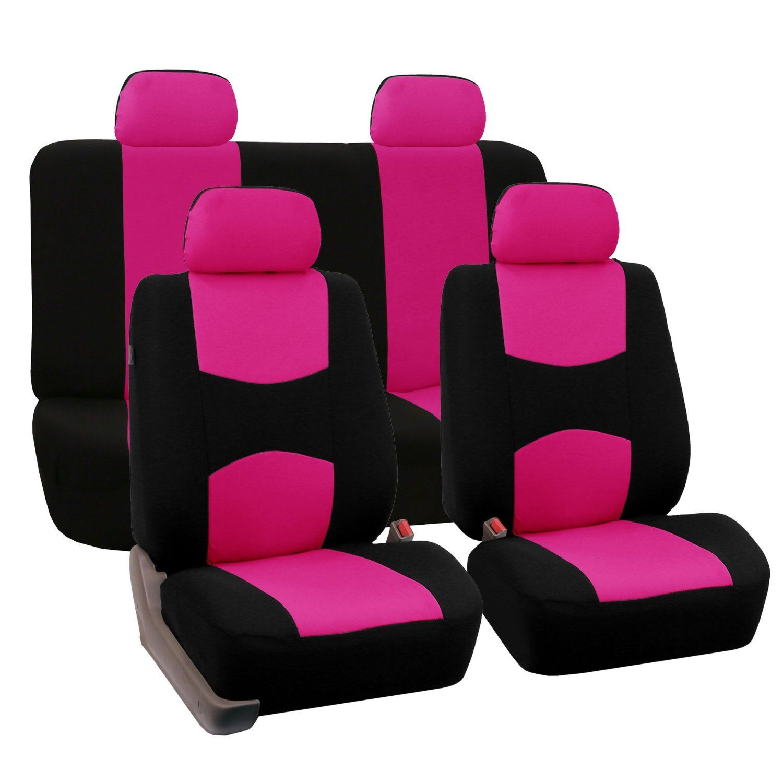 Amazon com fh fb050114 flat cloth car seat covers pink black color