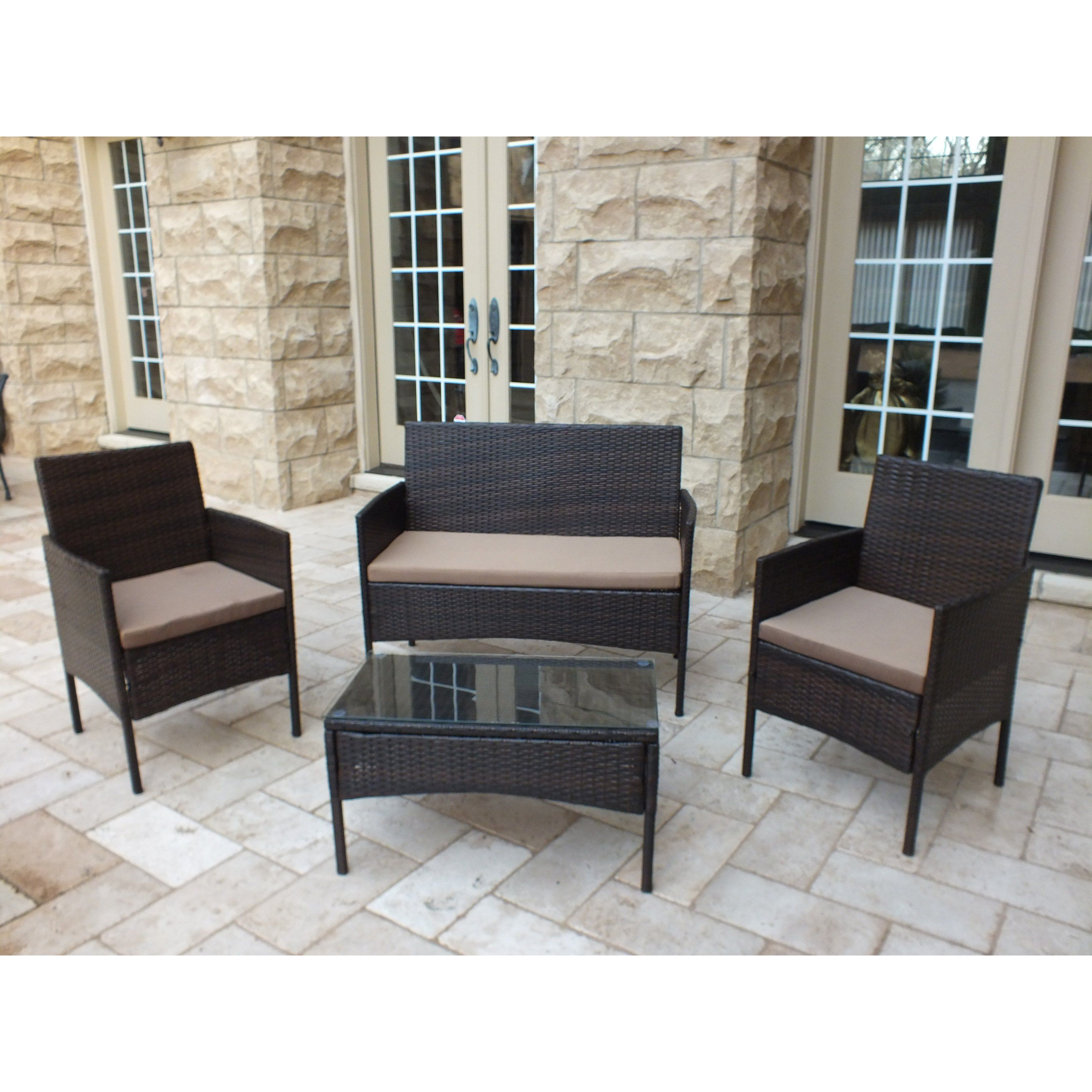 Outdoor JJ International Madison Wicker 4 Piece Patio Conversation