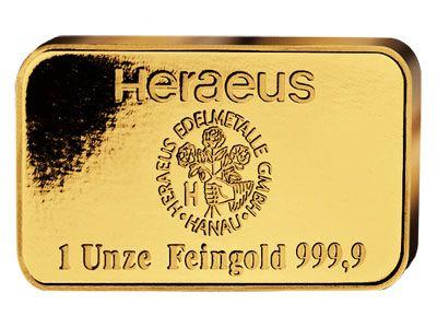Heraeus 1 Ounce Gold Bar Gold Bullion Bars Gold Bullion Gold