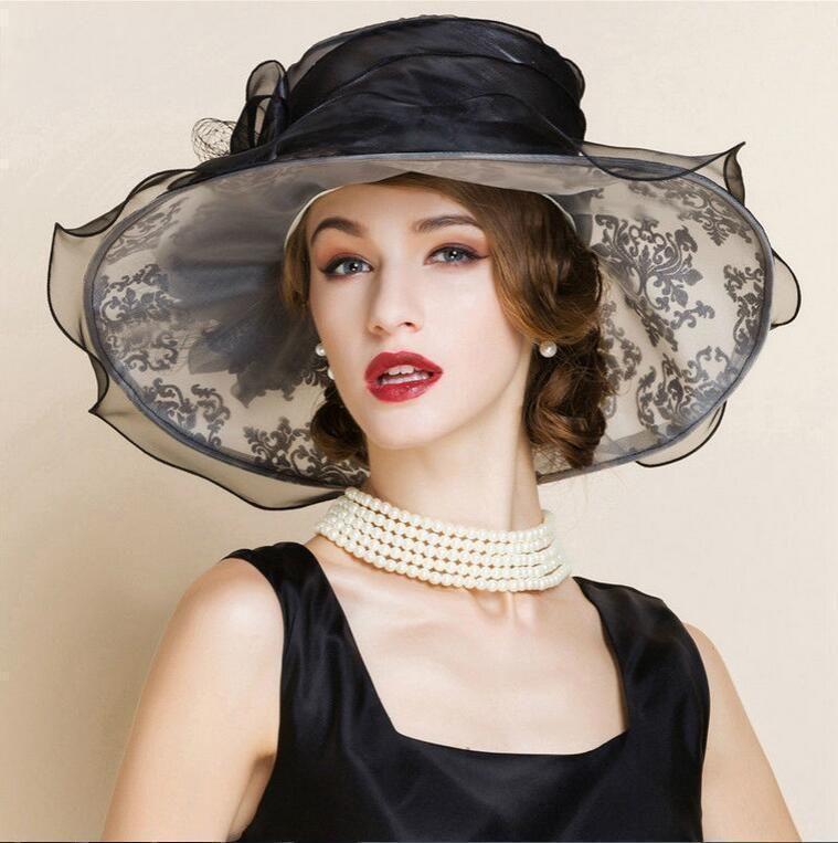 a471e6ab1e4 FS Elegant White Church Hats Summer Women Large Brim Organza Hat Black  Beach Fashion Lady Sun ...