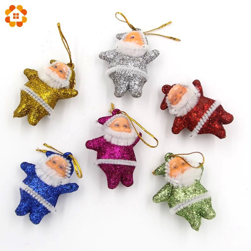New arrival 6PCS/Lot Colorful Small Christmas Ornaments Santa Claus