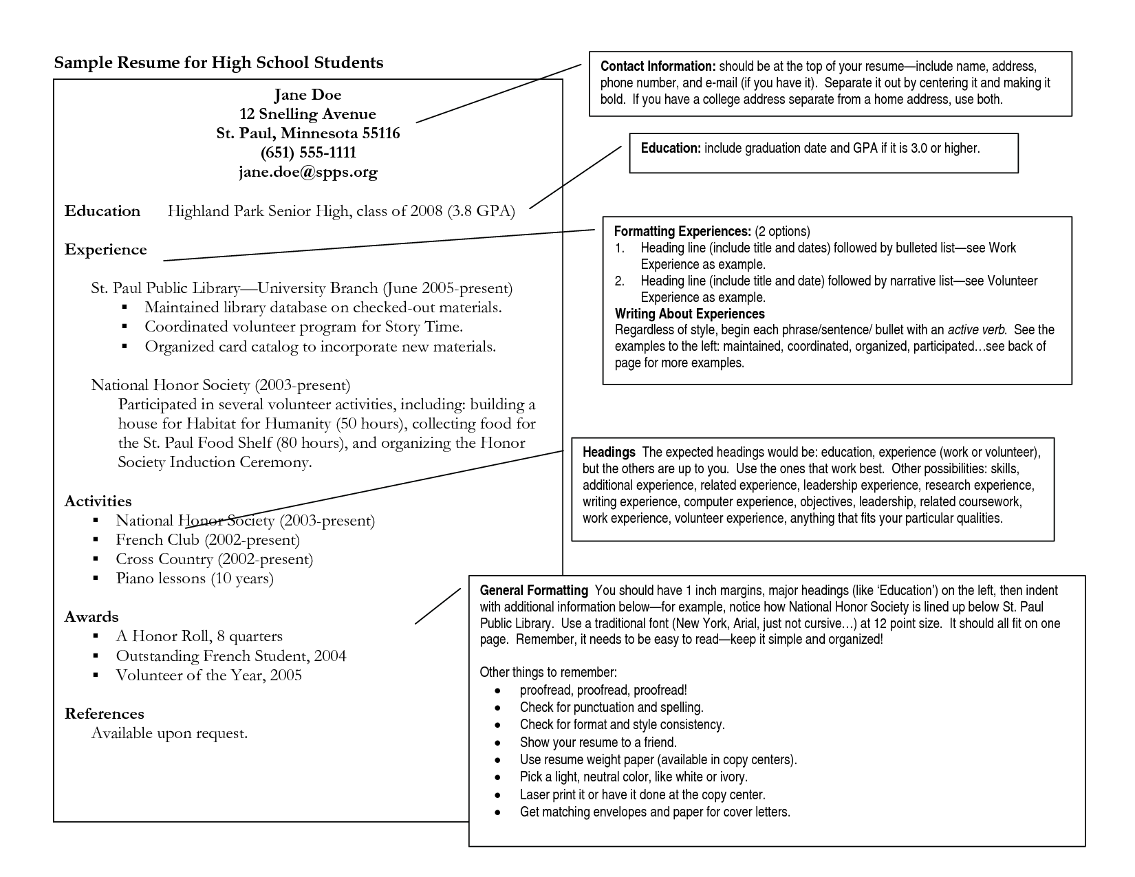Wonderful Resume Examples  High School Student Resume For College
