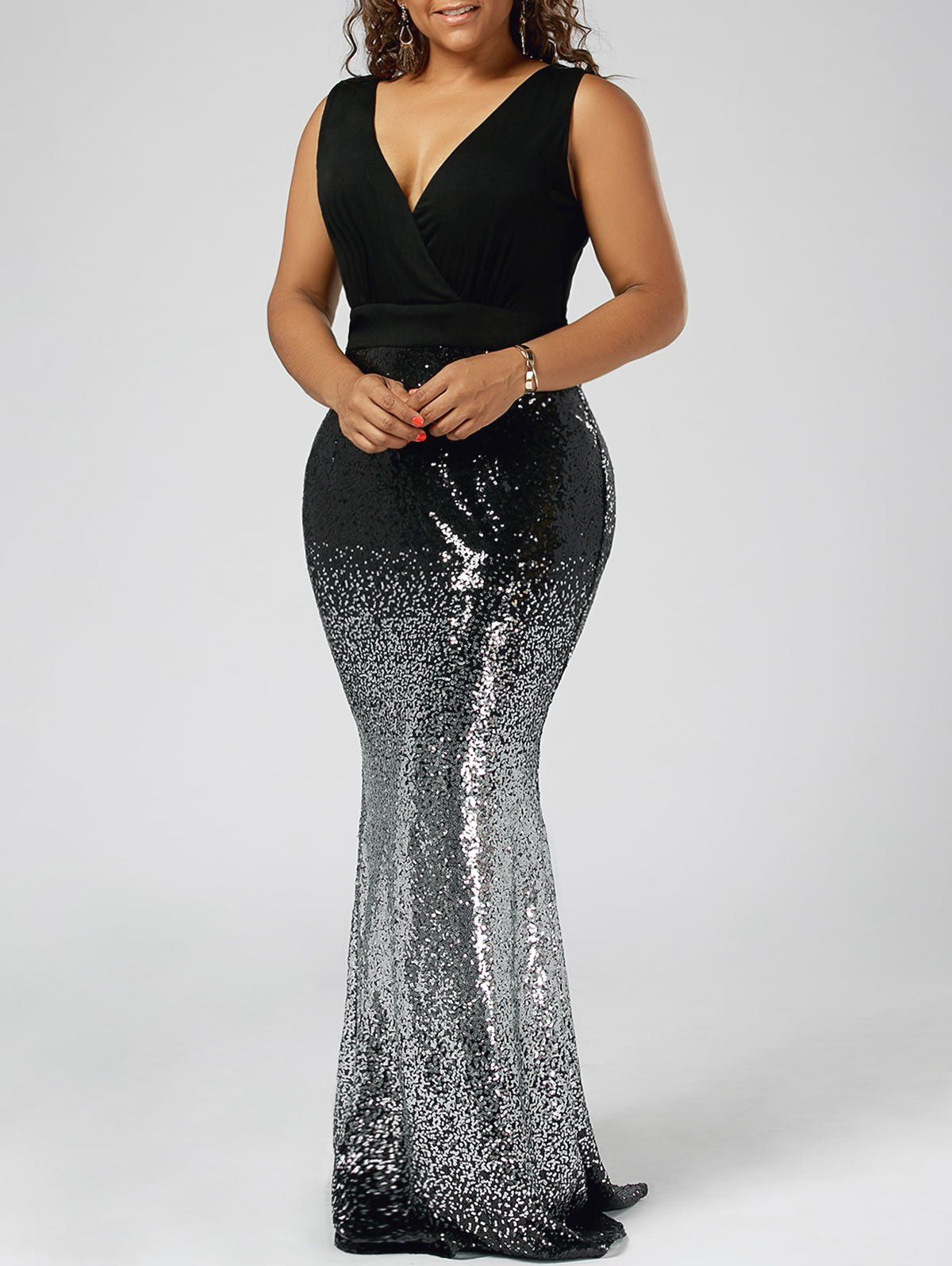 Plus size sequins fishtail maxi evening prom dress fishtail cheap