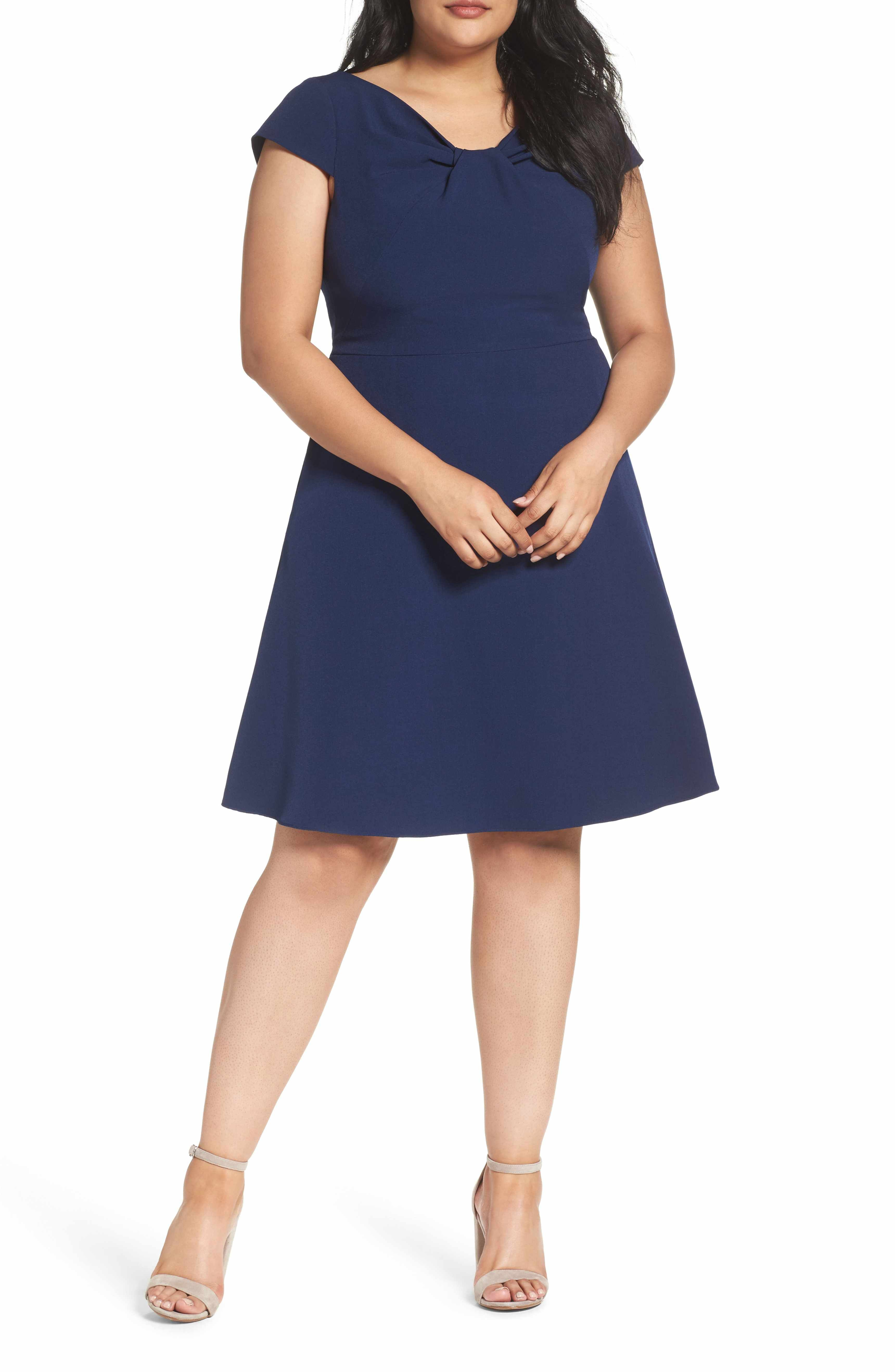 Main Image Adrianna Papell Drape Neck Fit & Flare Dress Plus Size