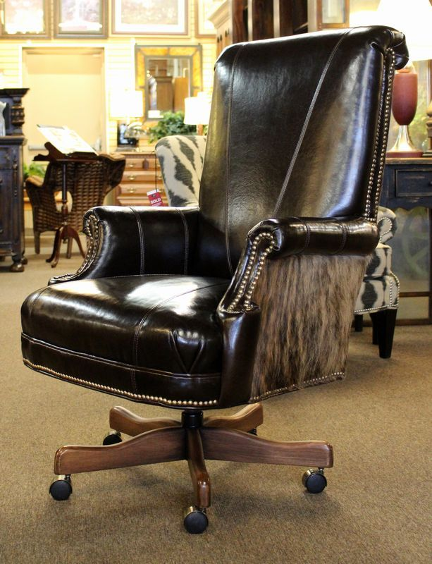 Hair On Hide Office Chair Cover Rentals Guelph Beautiful Of Dark Brown Leather With Back Adjustable Height Casters Original Retail 1800 Ontheshowroomfloor