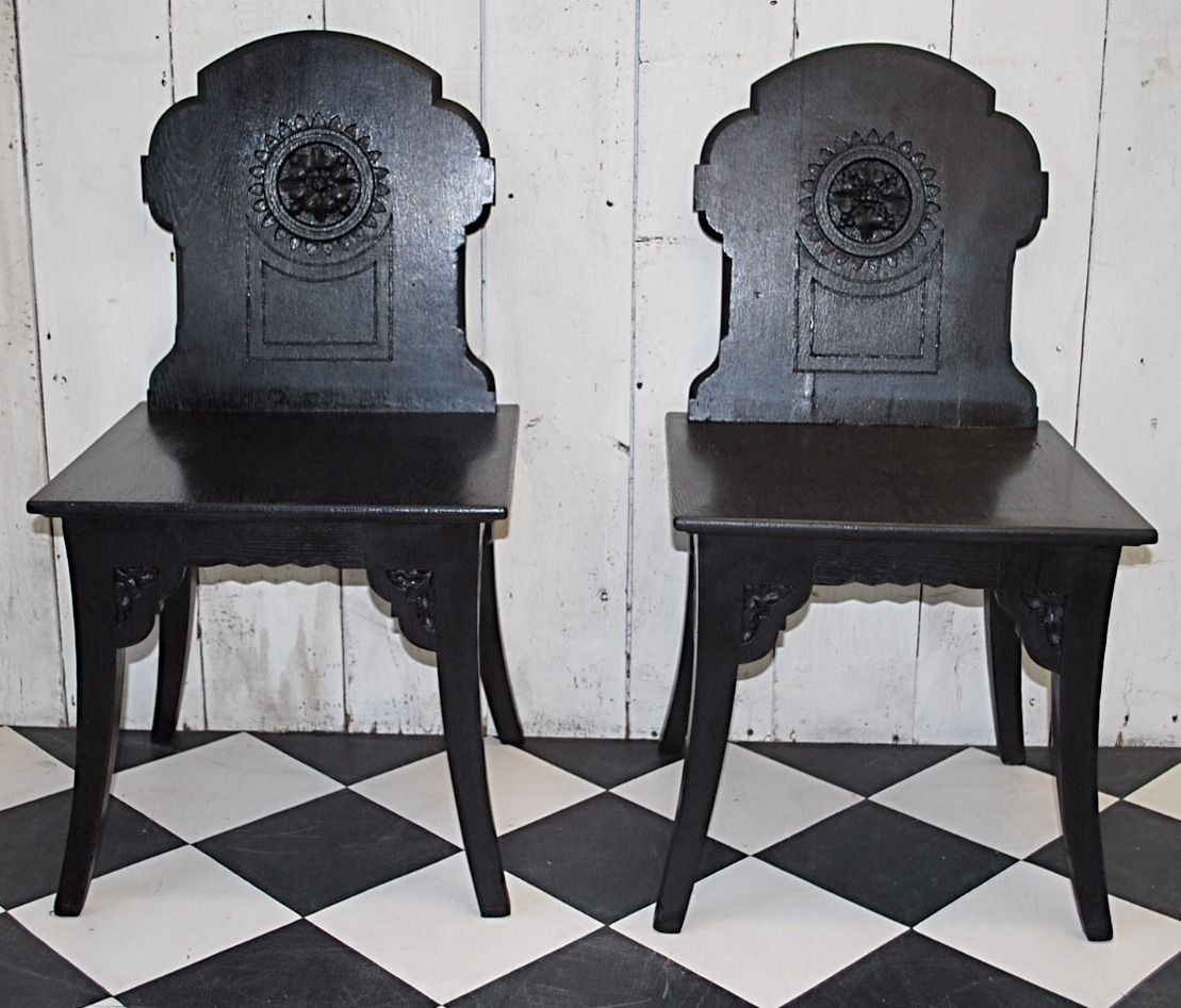 Antique furniture sales , decorative items , located in winchcombe  gloucestershire - Ebonised#hallchairs#antique#decorative#carved#forsale#sale#asthetic