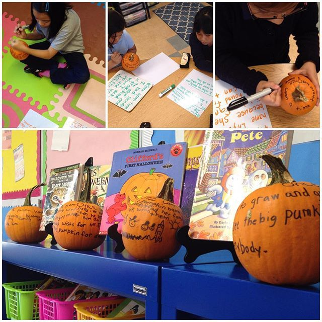 Writing on a pumpkin was a hit today! Such an easy, fun, and engaging activity! #tptlovesfall #writing #iteachtoo