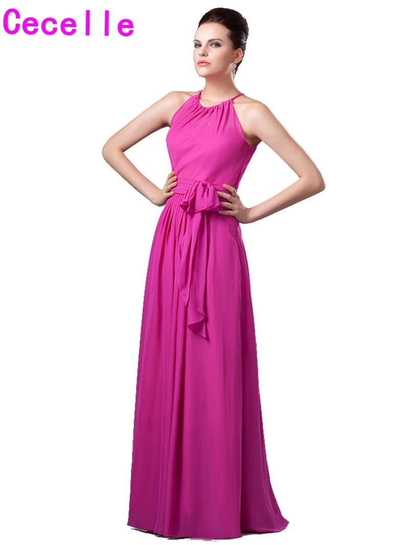 Hot Pink Halter Long Bridesmaid Dresses 2017 Boho Maxi Floor Length ...