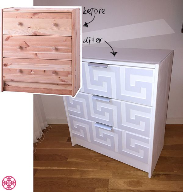 All you need is some O'verlays, paint and an imagination to give your furniture a fun and easy makeover to create your dream home decor. These Greek Key O'verlays on the Ikea Rast Dresser painted for a simple and modern look are an amazing and affordable transformation!