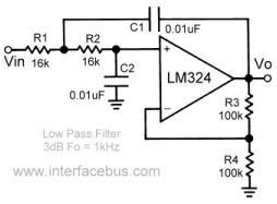 Second Order Low Pass Filter using a LM324 Operational