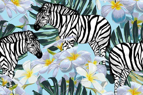 Zebras vector tropical pattern. Patterns