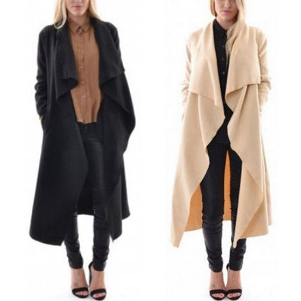 Women Waterfall Cape Cardigan Sweater Lapel Long Maxi Jackets Loose Trench Coats #Unbranded #Trench #Casual