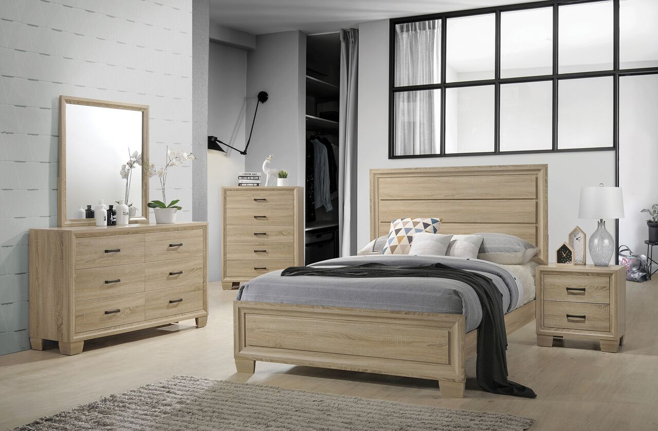 Coaster Vernon 206351 White Washed Oak Bedroom Set Queen King Bed White Washed Oak Oak Bedroom Bed Furniture