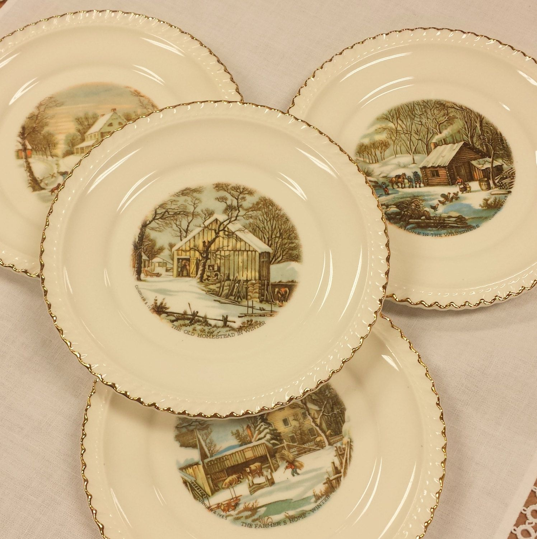 Set of 4 Currier & Ives Bread/Butter/Side ~ Winter Homestead Scenes ...