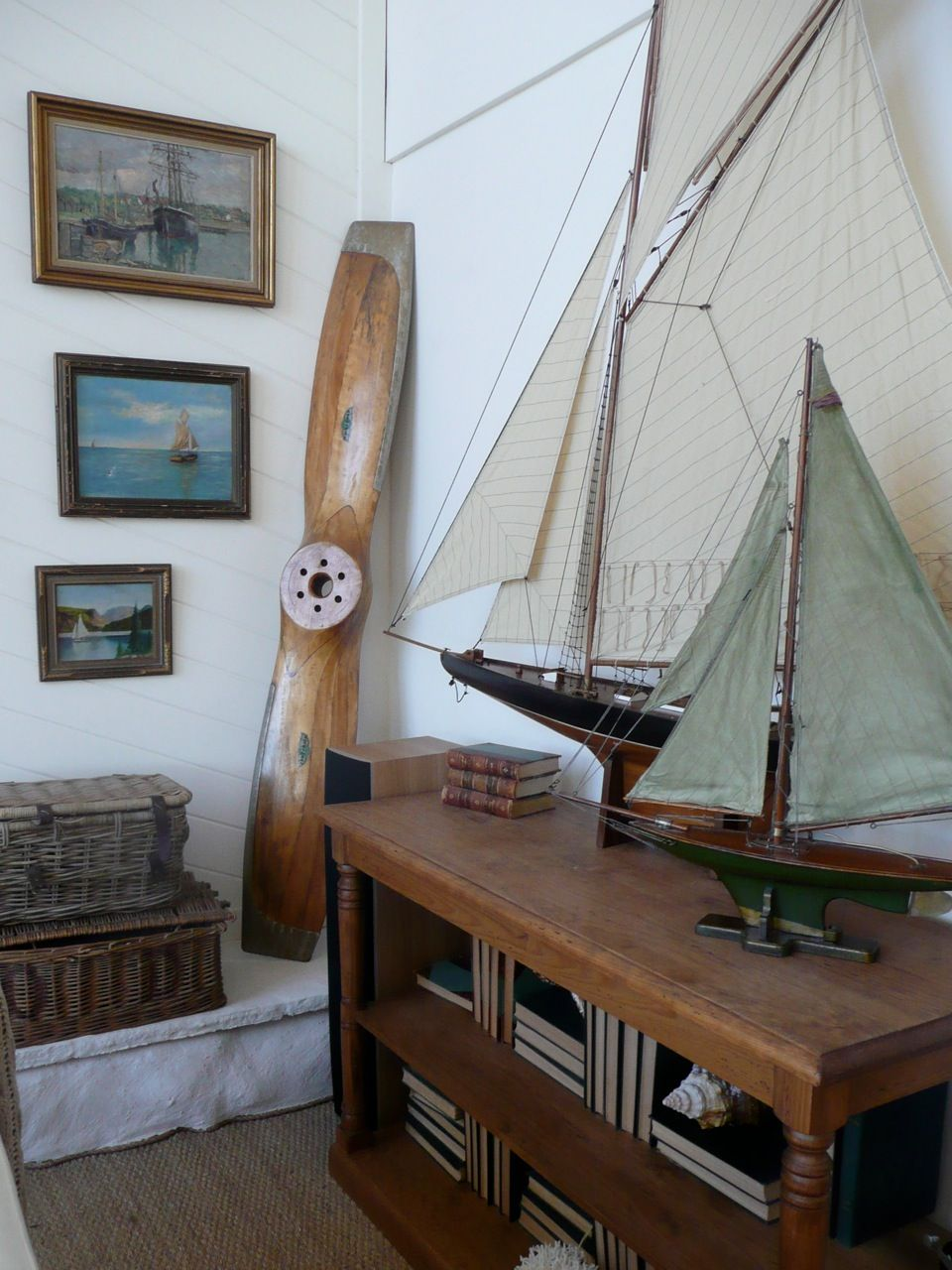 Photo of Sailboats and vintage propellers, baskets, just lovely!
