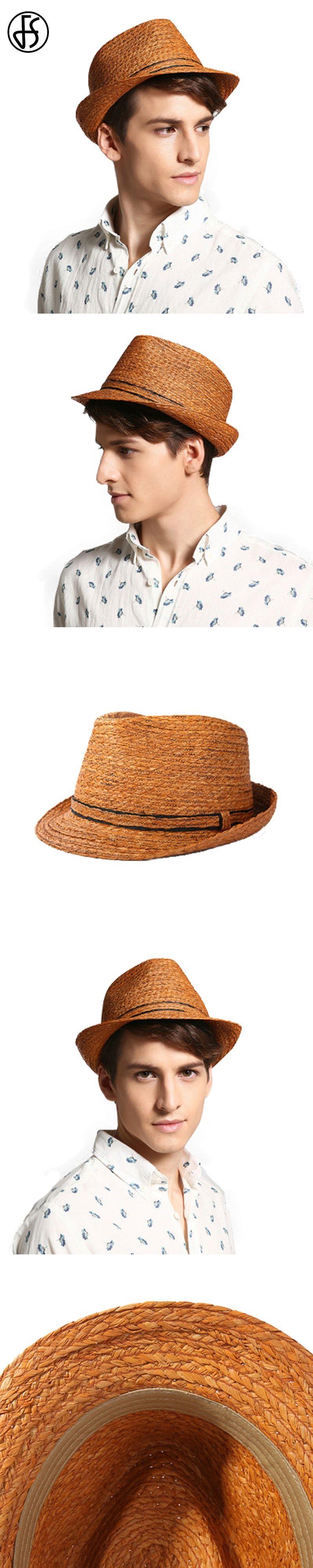 5e61e065e9c FS Vintage Panama Hat Men Raffia Straw Fedora For Male Women Summer Fashion  Beach Sun Visor