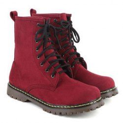 $17.70 Casual Women's Pretty Combat Boots With Solid Color and Round Toe Design