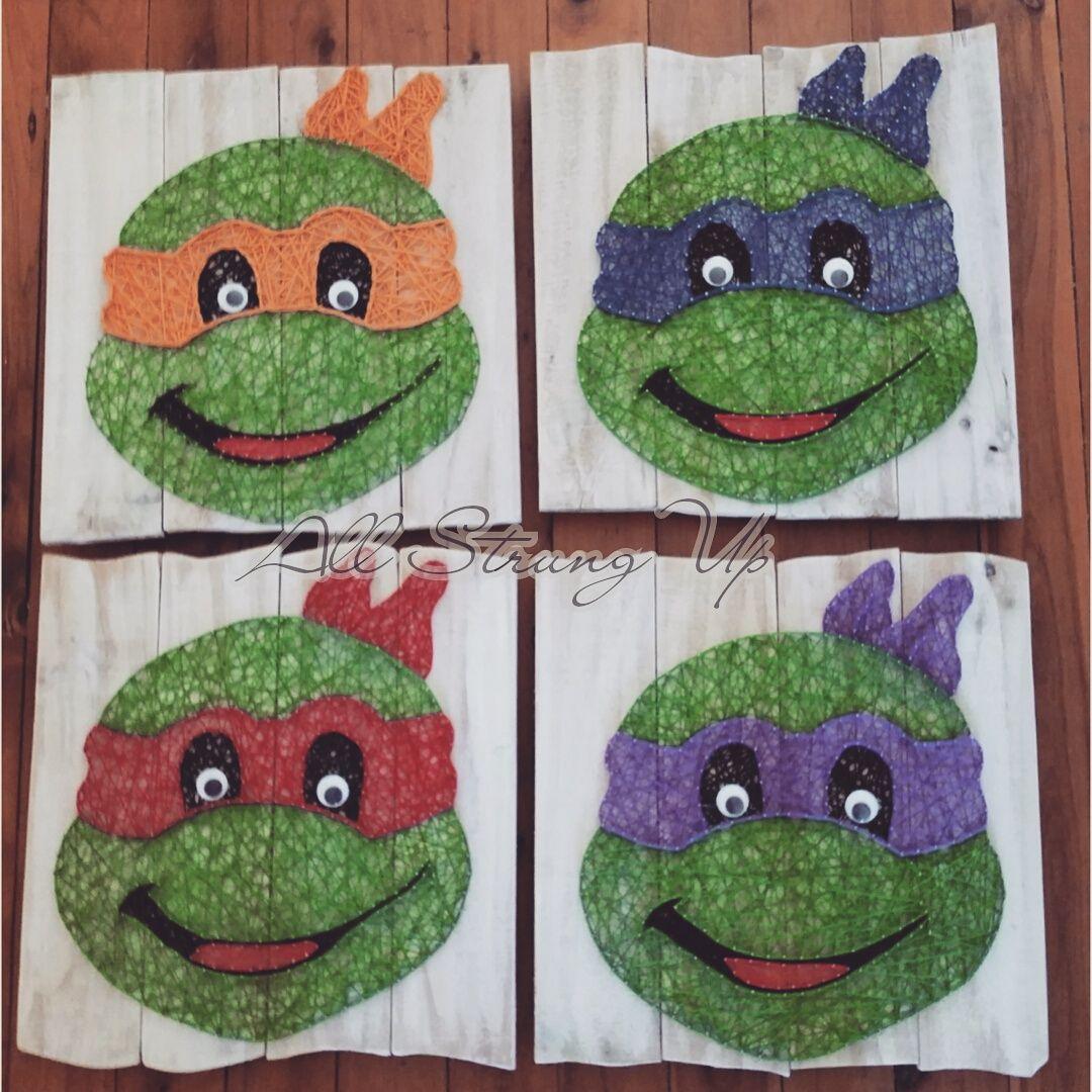 Ninja turtles TMNT - string art. Check us out on Facebook at All Strung Up. https://www.facebook.com/pages/All-Strung-Up/915873695199667?ref=hl