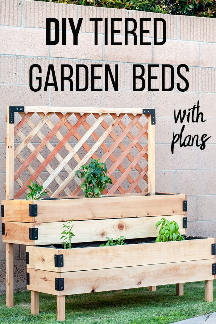 DIY Tiered Raised Garden Bed  Full Tutorial and Plans is part of Raised garden beds diy, Raised garden beds, Diy raised garden, Vegetable garden raised beds, Garden beds, Diy garden furniture - Learn how to build a DIY tiered raised garden bed using cedar fences with a step by step tutorial and printable build plans  Great for patios and decks