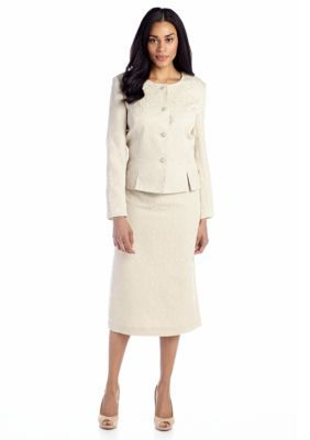John Meyer  Gold Peplum Skirt Suit