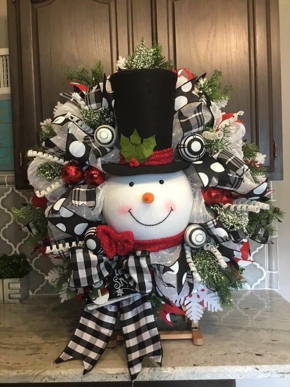Corona de snowman, corona de Navidad, decoración navideña, decoraciones navideñas, cinta en blanco y negro
