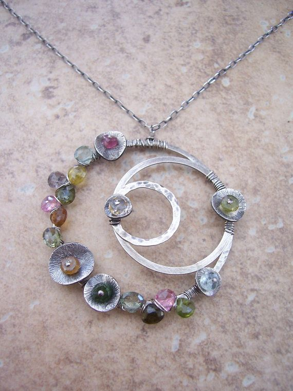 Galaxy Watermelon Tormaline Necklace by dnajewelrydesigns on Etsy, $103.00
