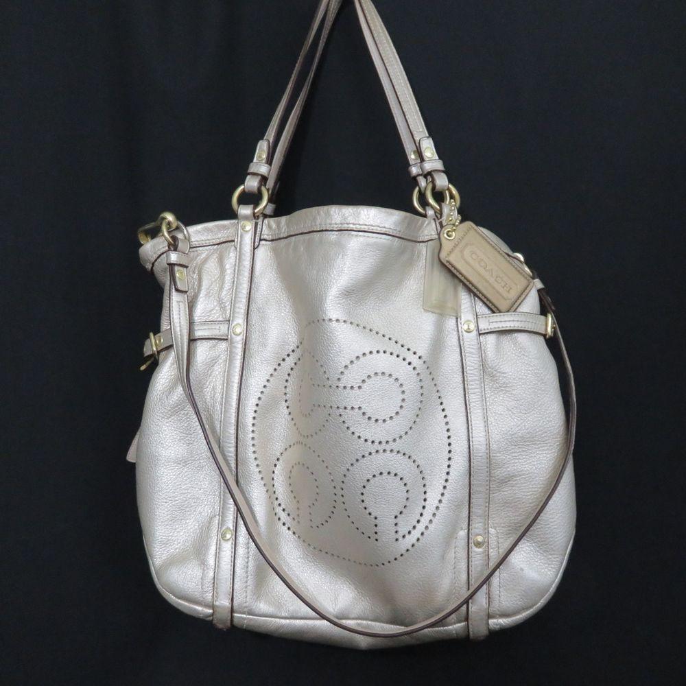 e7c5fc7240f4 Coach Platinum Metallic Leather Tote Bag Purse Cinched Audrey ...
