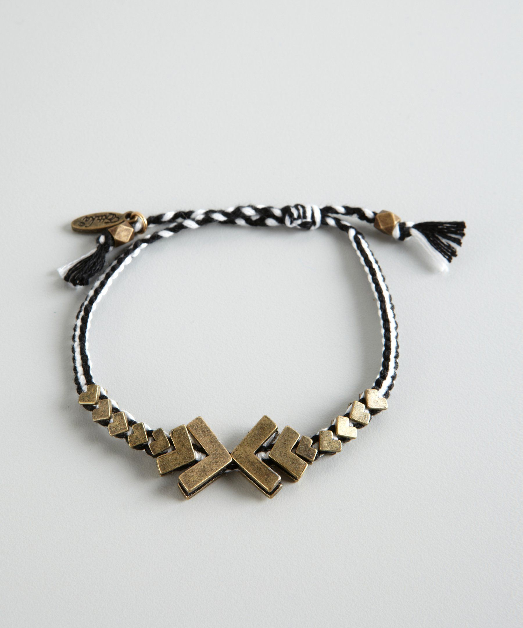 Ettika black and white cotton braided chevron metal trim friendship bracelet | BLUEFLY up to 70% off designer brands