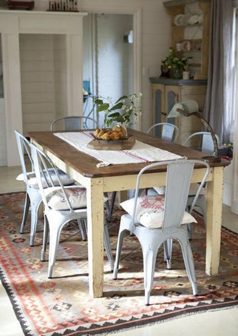 dining room with tolix chairs vintage wooden table for randy to build lol