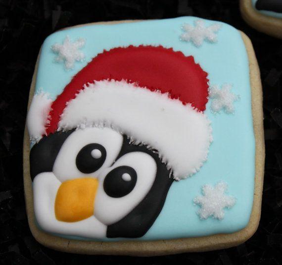 Penguin Cookies Christmas Cookies Holiday by 4theloveofcookies,