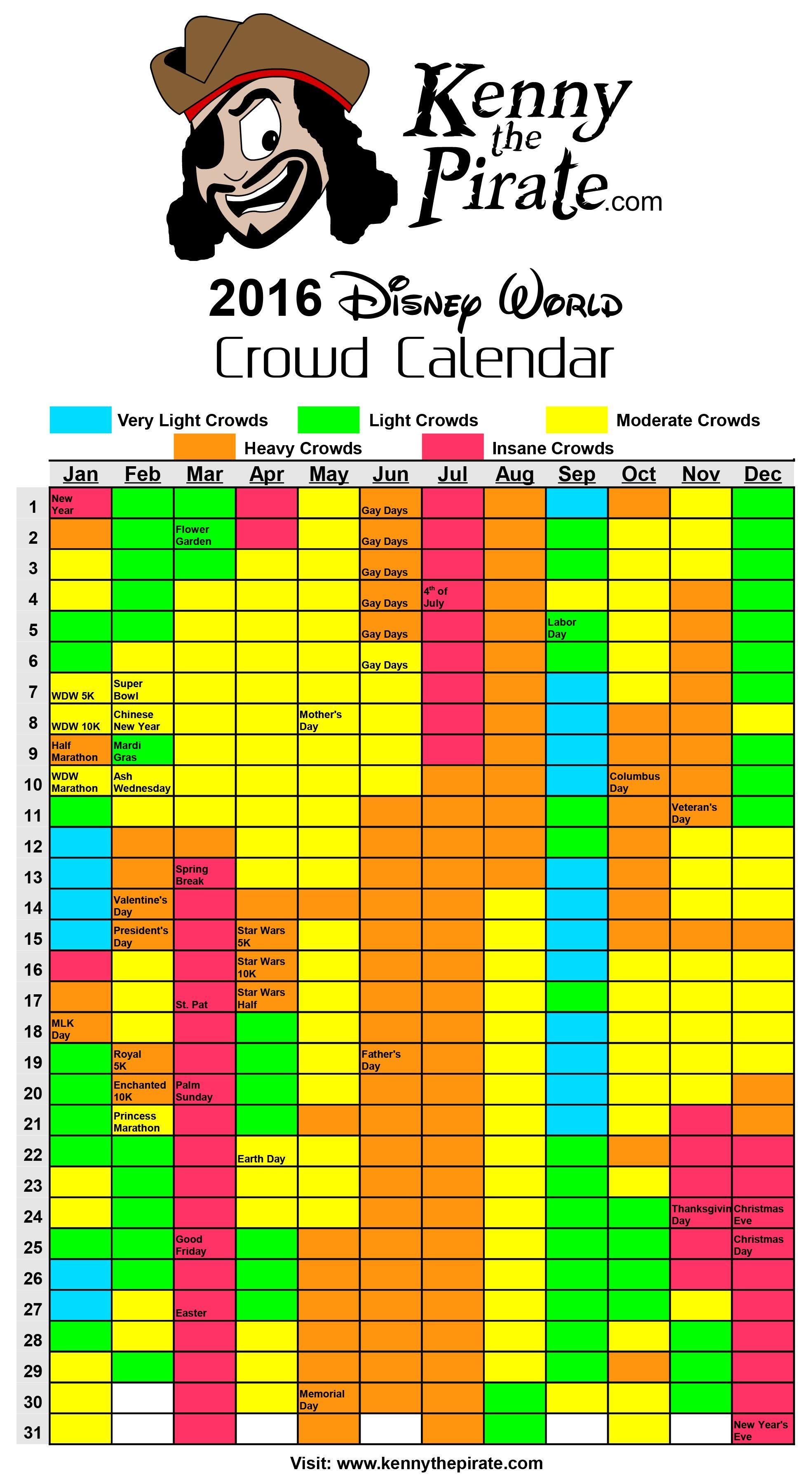 2016 disney world crowd calendar book today! t.boyd