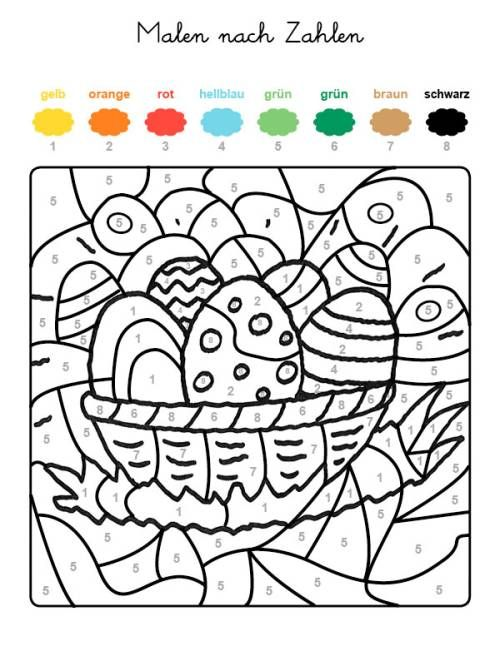Malen Nach Zahlen Osternest Ausmalen Zum Ausmalen Malen Nach Zahlen Kinder Malen Nach Zahlen Ostern Malen