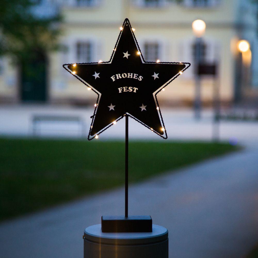 Led Tischdeko Stern Mit Schriftzug 25x45cm In Schwarz Led Weihnachtsbeleuchtung Und Led Kerzen