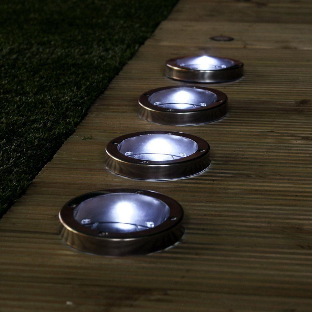 4 x Led Solar Deck Light Swimming Pool Garden Pathway Stainless ...