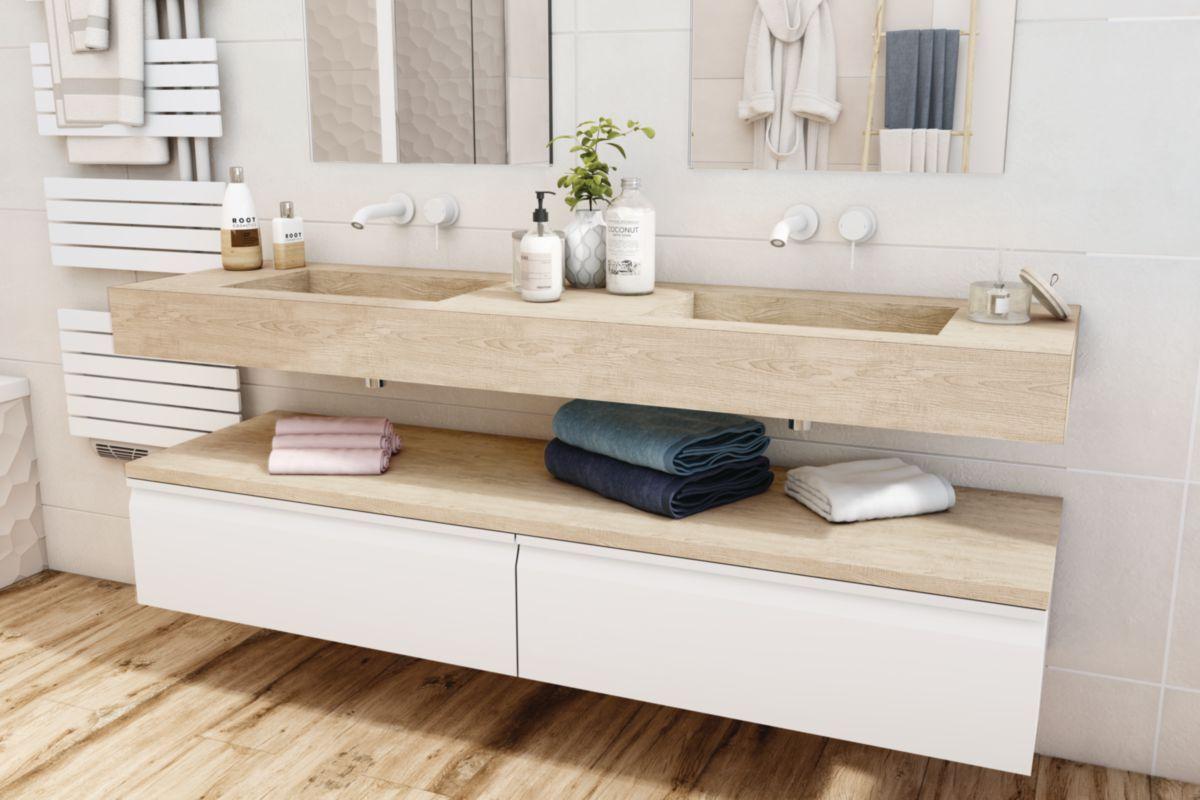 Plan De Toilette Zao Avec Double Vasque 180 Cm Chene Blanchi Hpl En 2020 Salle De Bain Design Salle De Bain Meuble Salle De Bain