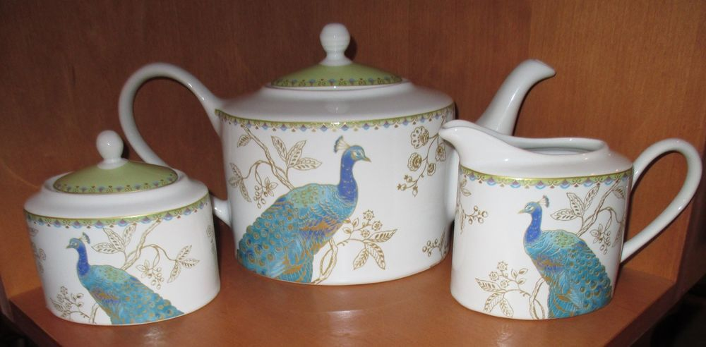 222 Fifth Peacock Garden 5 Pc Set Teapot Creamer Sugar Bowl Lid NWT  Multi Color