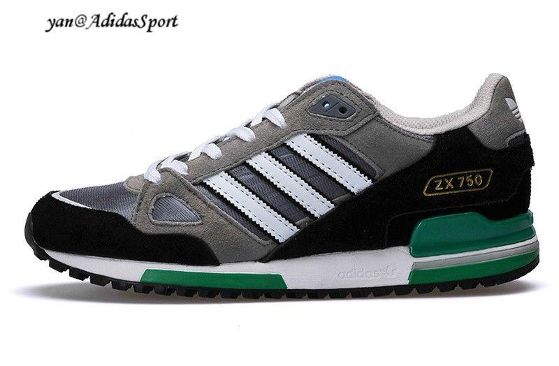 Hombres Adidas Originals ZX 750 Zapatillas de Running Lobo  Gris/Negro/Blanco/Verde