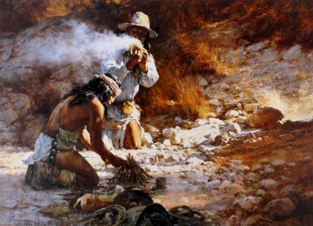 Apaches building a fire