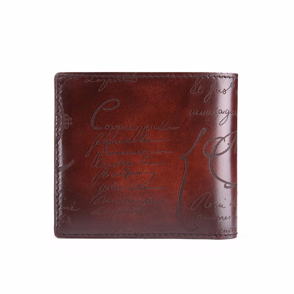 TERSE handmade genuine leather men business short wallet engraving ...