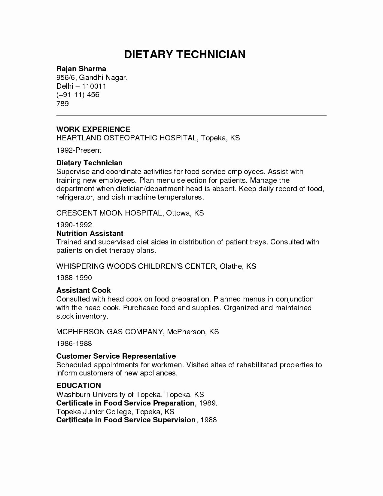 Dietary Aide Job Description Resume New Tary Aide Resume