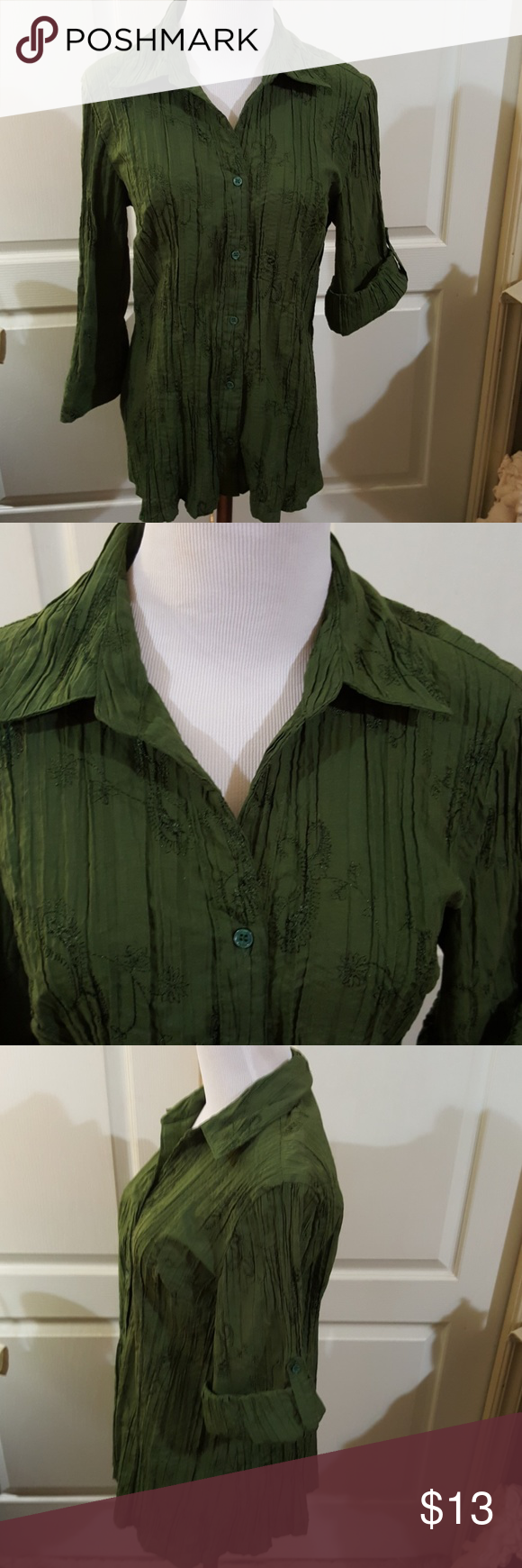 St. John's Bay Embellished Button Down Blouse. Lg. Pretty, dark green button down blouse by St. John's Bay. Embellished with darker shade of green embroidery. 3/4 length sleeves or roll them up and button them to make them shorter. No holes or stains, pilling, or pulls. Size Large. St. John's Bay Tops