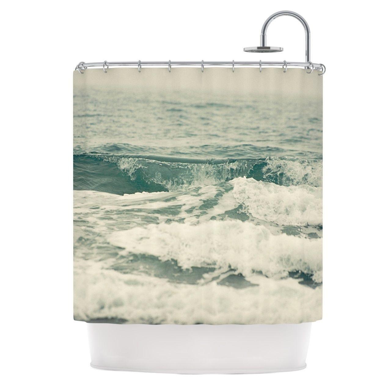 Ocean shower curtains - Kess Inhouse Cristina Mitchell Crashing Waves Teal Ocean Shower Curtain 69x70 By Kess Inhouse