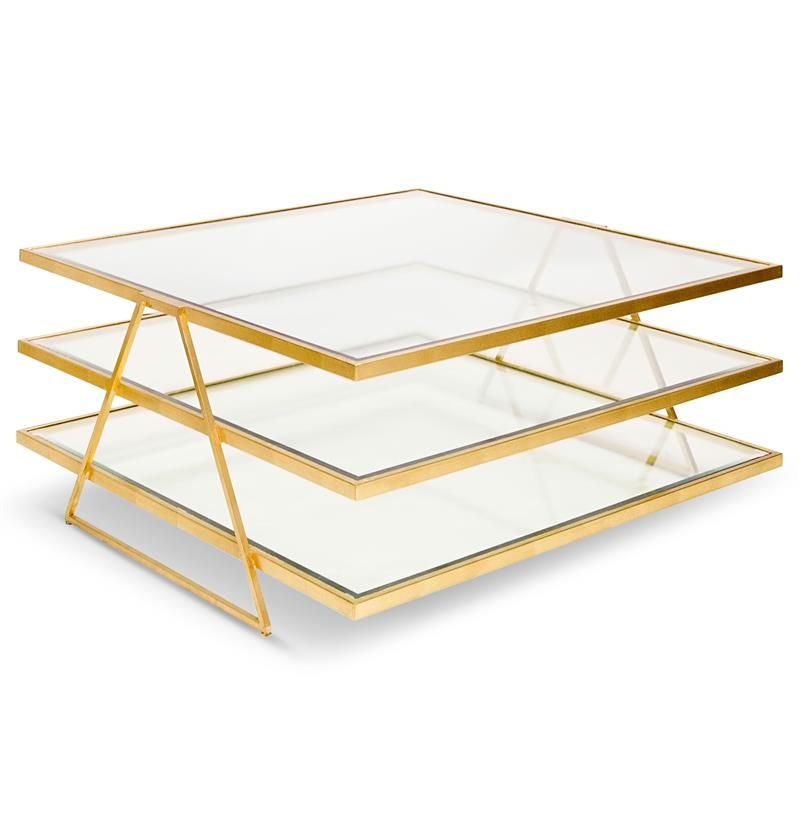 Destiny Hollywood Regency Gold Glass 3 Tier Coffee Table Coffee Table Square Gold Coffee Table 3 Tier Coffee Table