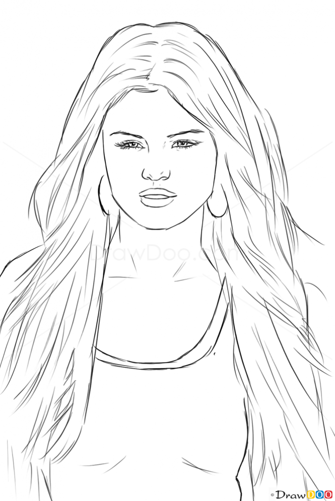 How To Draw Selena Gomez Celebrities Selena Gomez Drawing Celebrity Drawings Drawings Of Friends