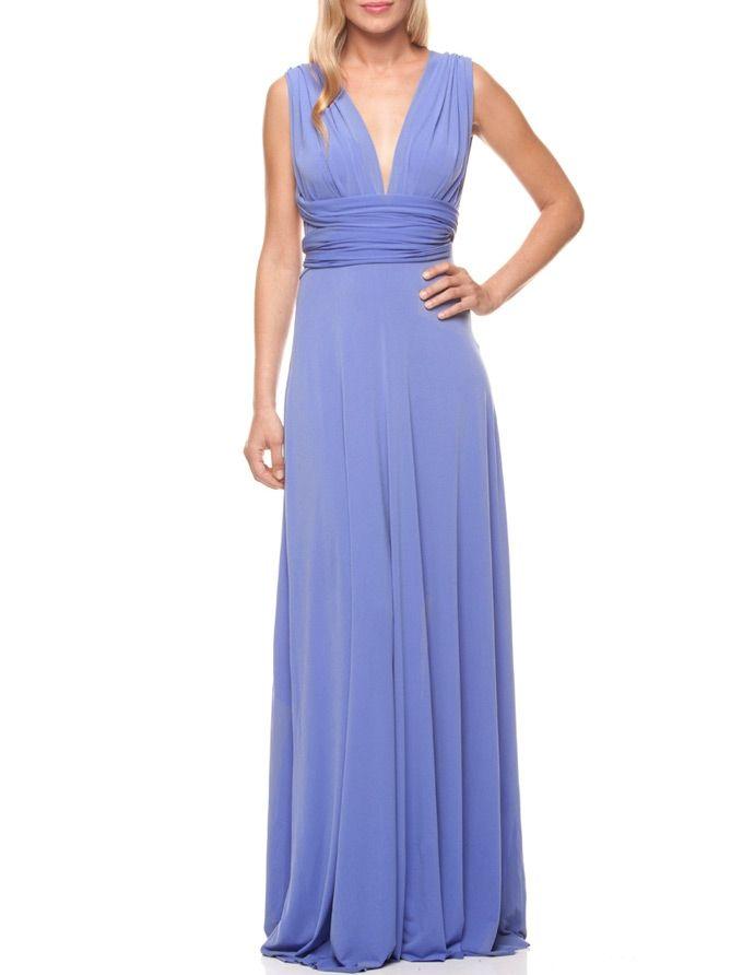 MACloth Women V Neck Long Bridesmaid Dress Chiffon Wedding Party Evening Gown (EU36, Aqua)