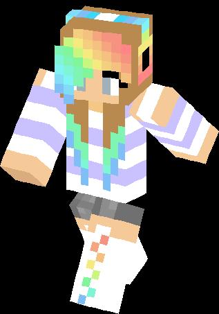 Girl Minecraft Skins Rainbow Cute Rainbow Girl Skin