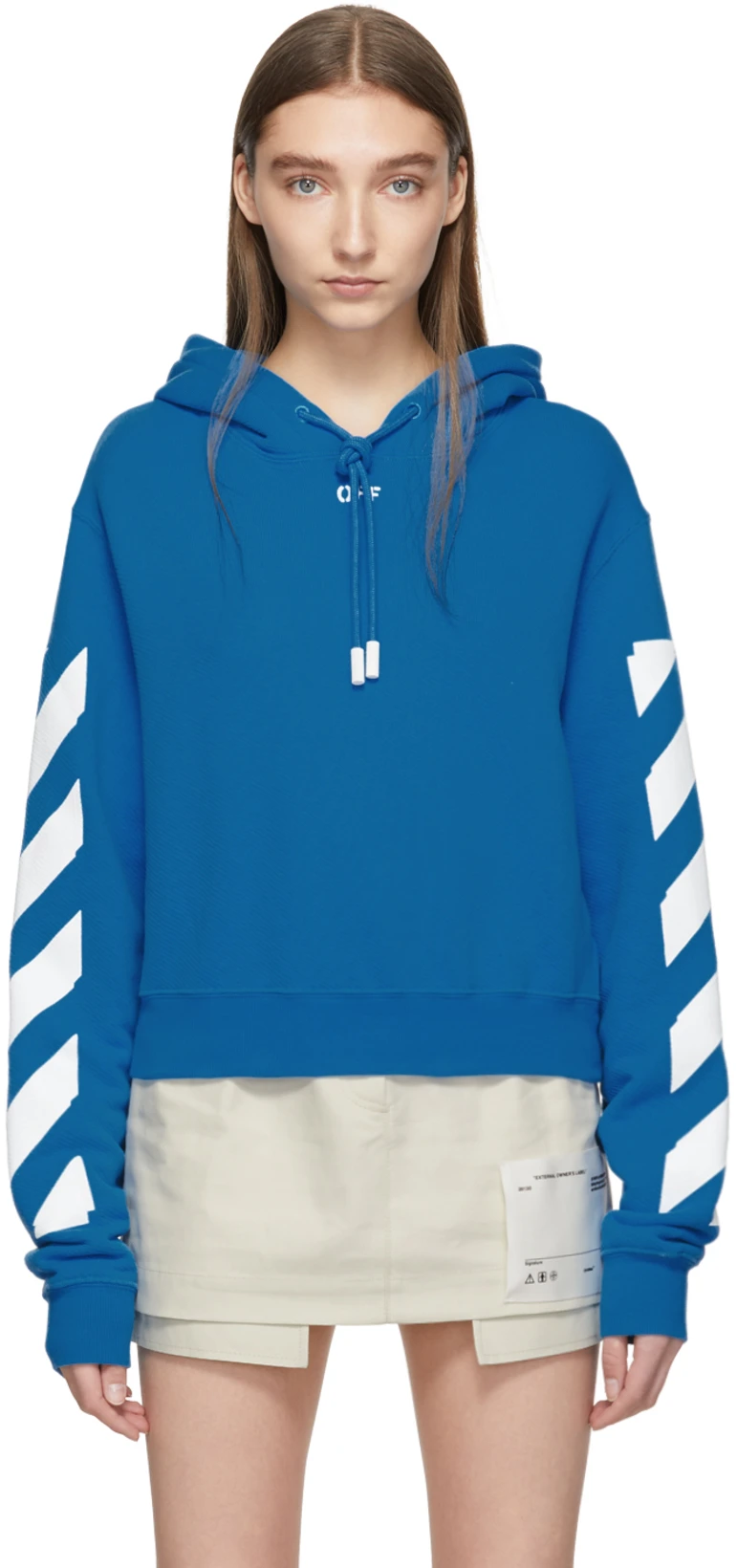 Off White Blue Diag Crop Hoodie Ssense Off White Clothing Cropped Hoodie Clothes [ 1640 x 771 Pixel ]
