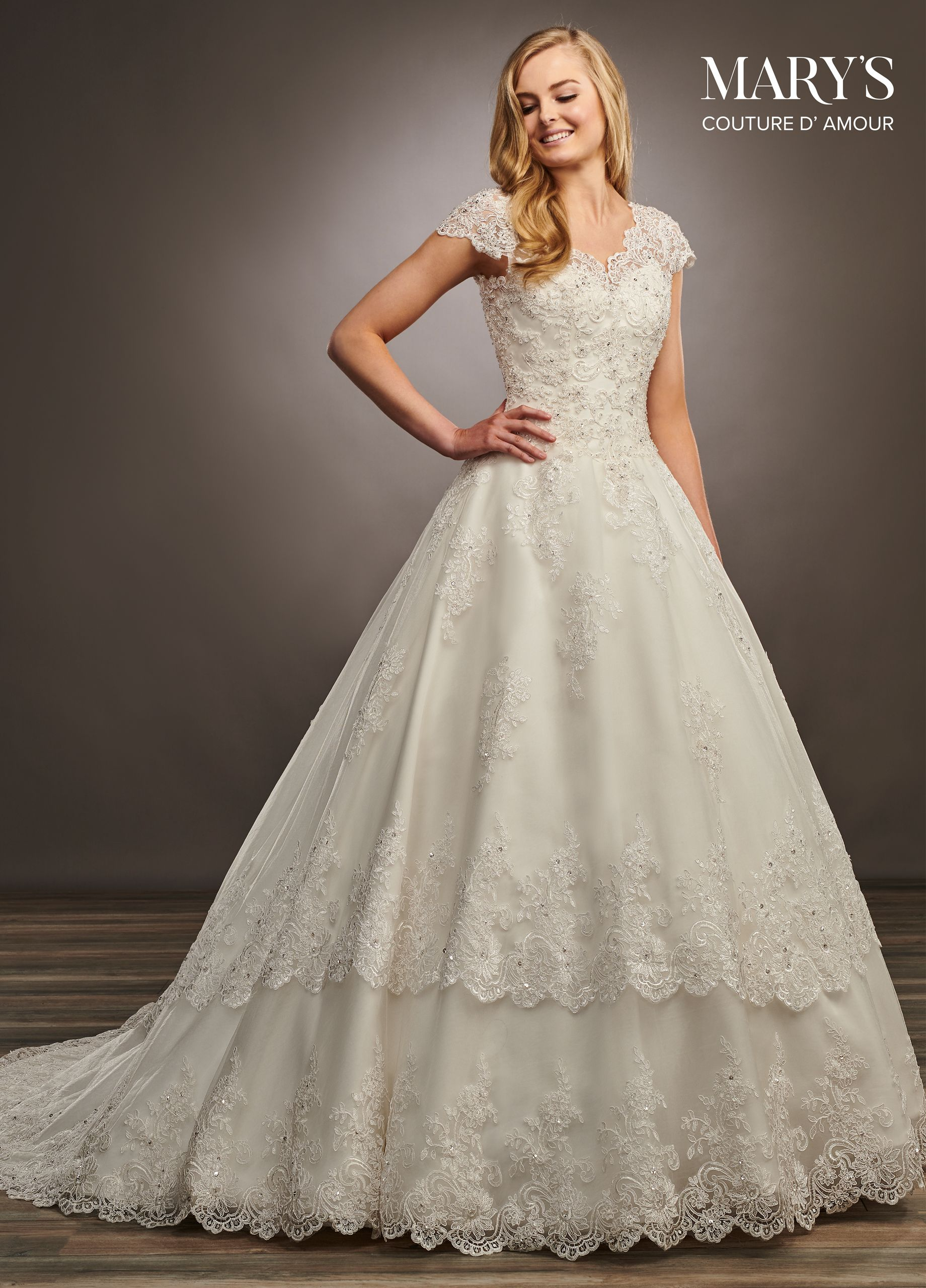 32c41c0f93e69 6401 - A-line Tulle and re-embroidered lace bridal gown with V-neck ...